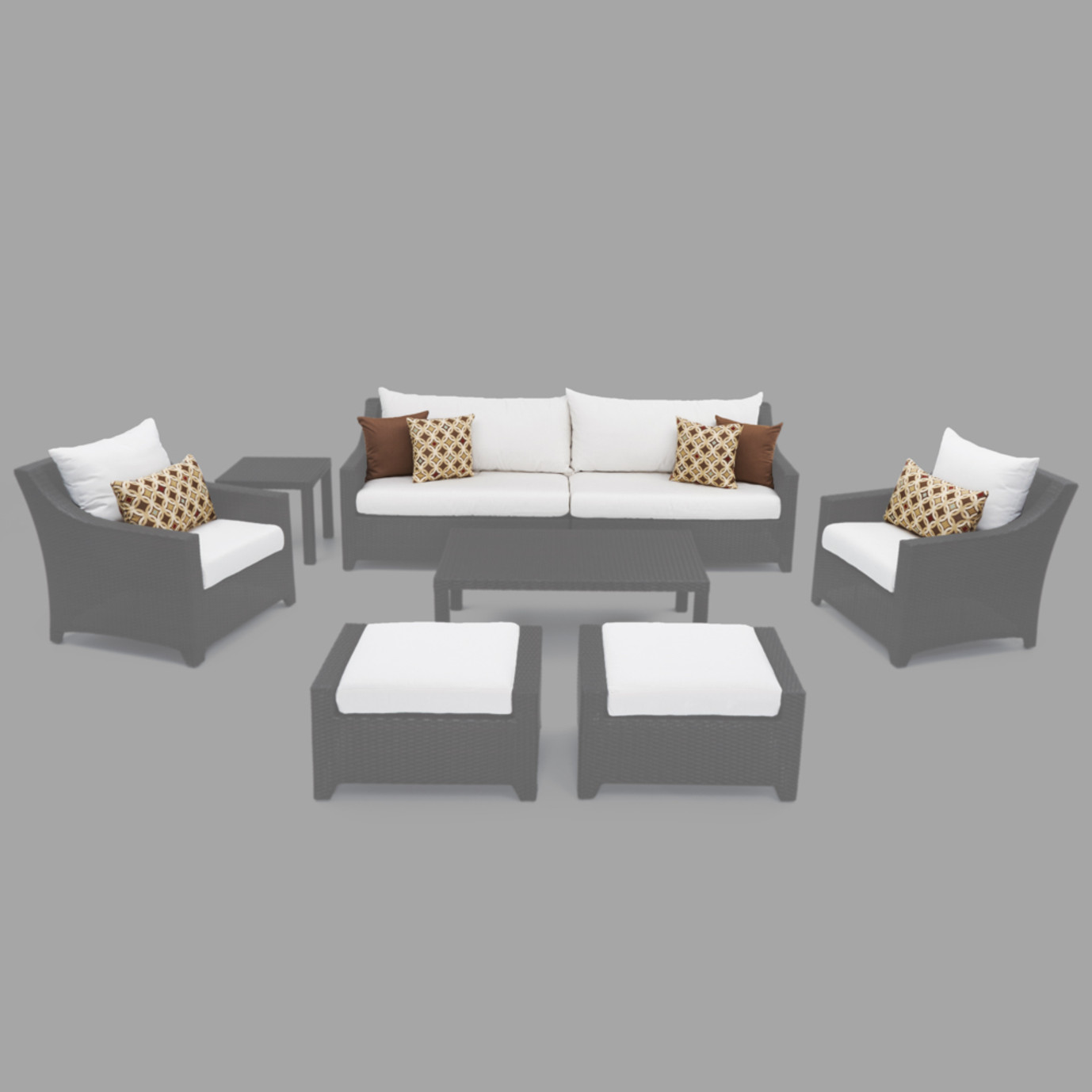Modular Outdoor 8 Piece Club Cushion Cover Set - Moroccan Cream
