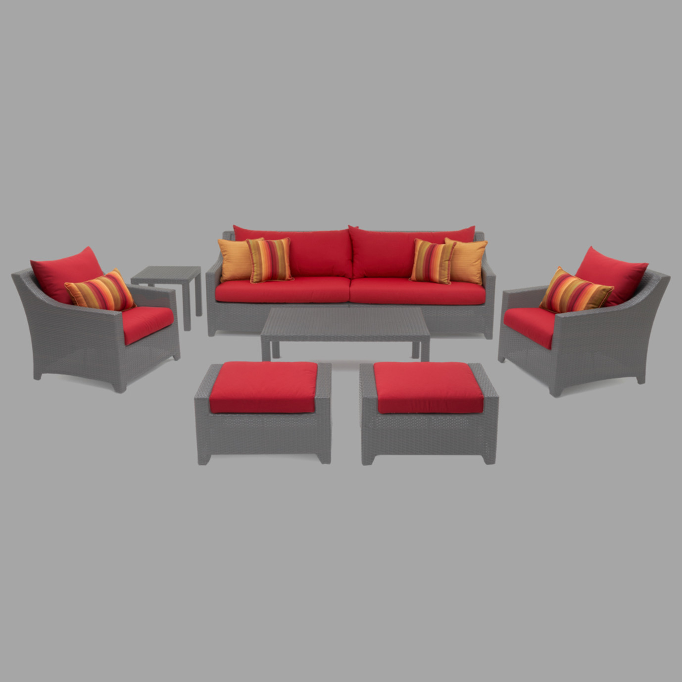 Modular Outdoor 8 Piece Club Cushion Cover Set - Sunset Red