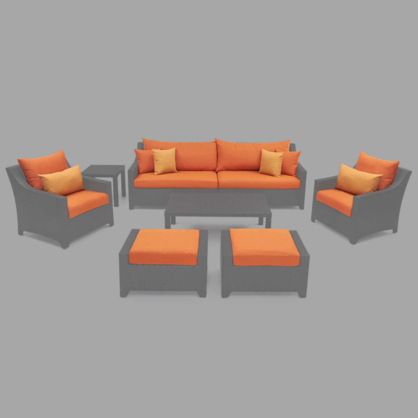 Modular Outdoor 8pc Club Cushion Cover Set - Tikka Orange