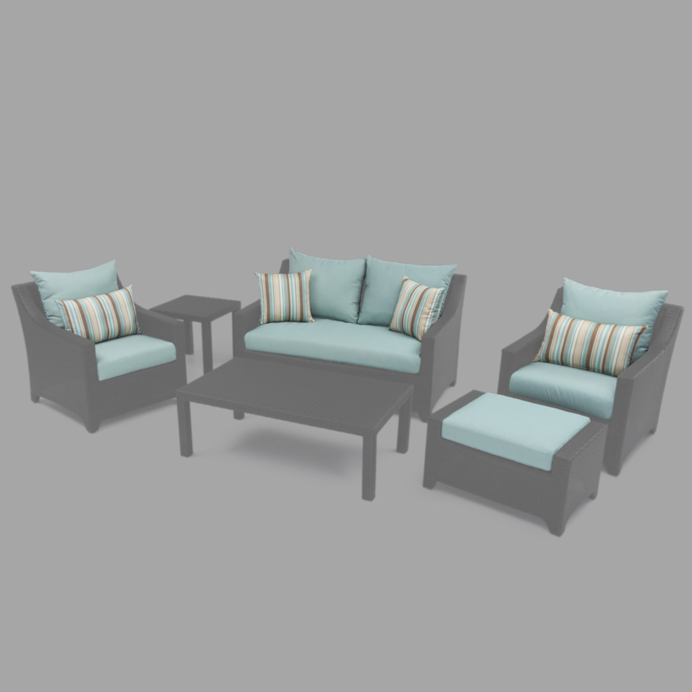 Modular Outdoor 6pc Love Cushion Cover Set - Bliss Blue