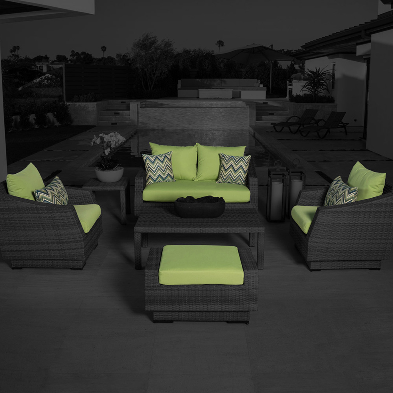 Modular Outdoor 6 Piece Love Cushion Cover Set - Gingko Green