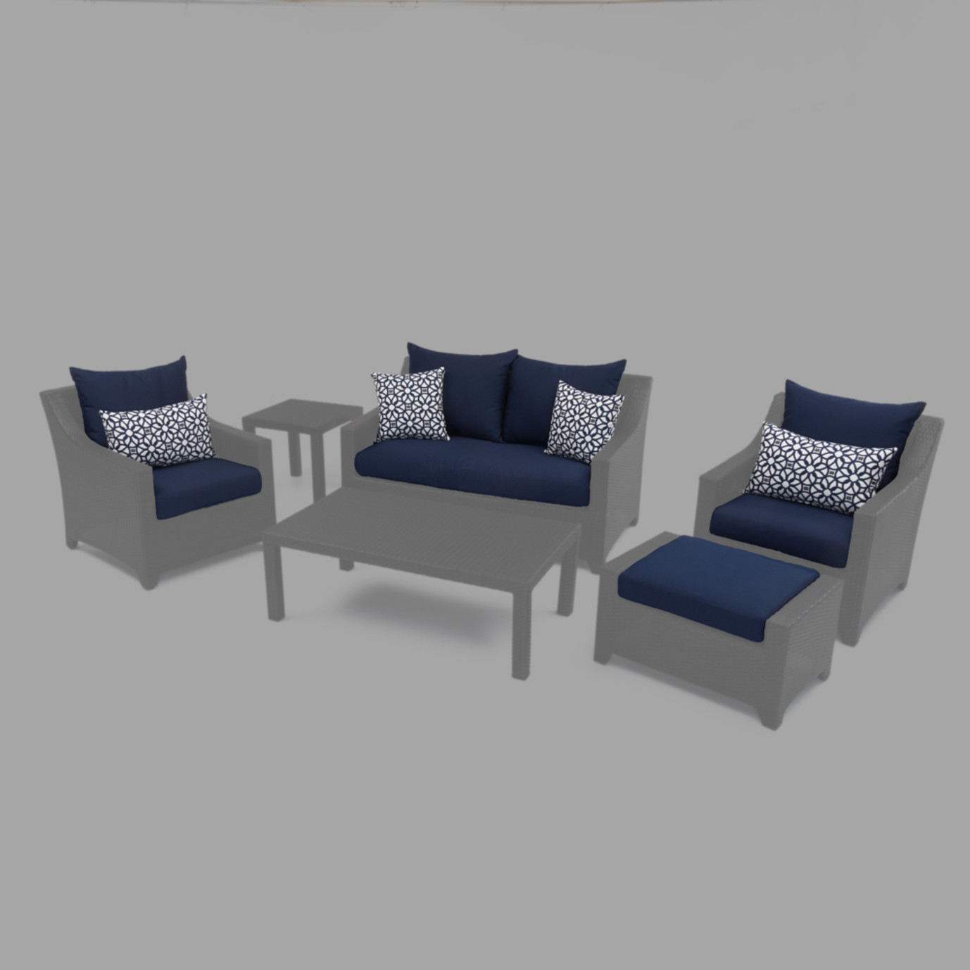 Modular Outdoor 6 Piece Love Cushion Cover Set - Navy Blue