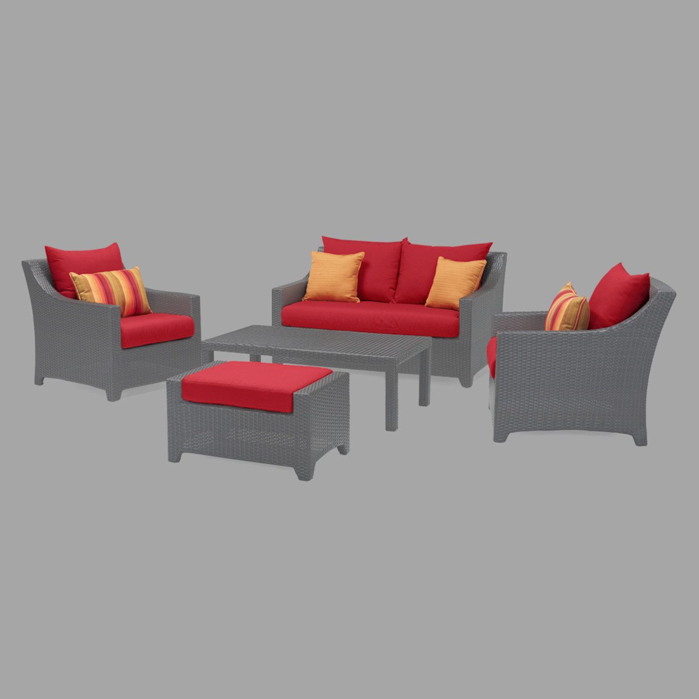 Modular Outdoor 6 Piece Love Cushion Cover Set - Sunset Red