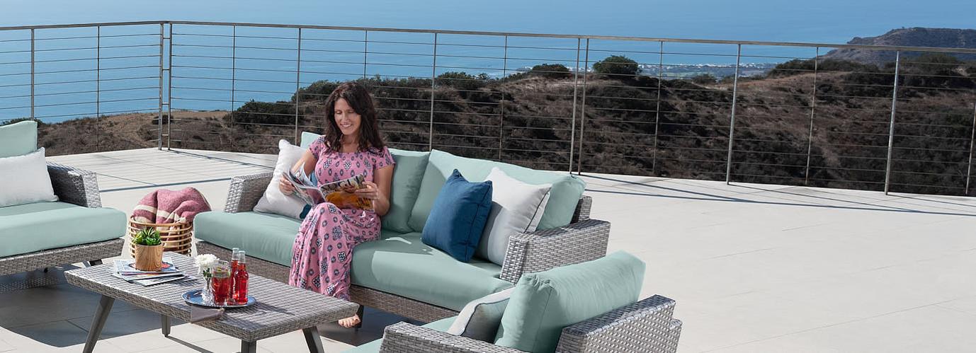 Portofino® Casual 71in Loveseat Left Base Cushion - Spa Blue