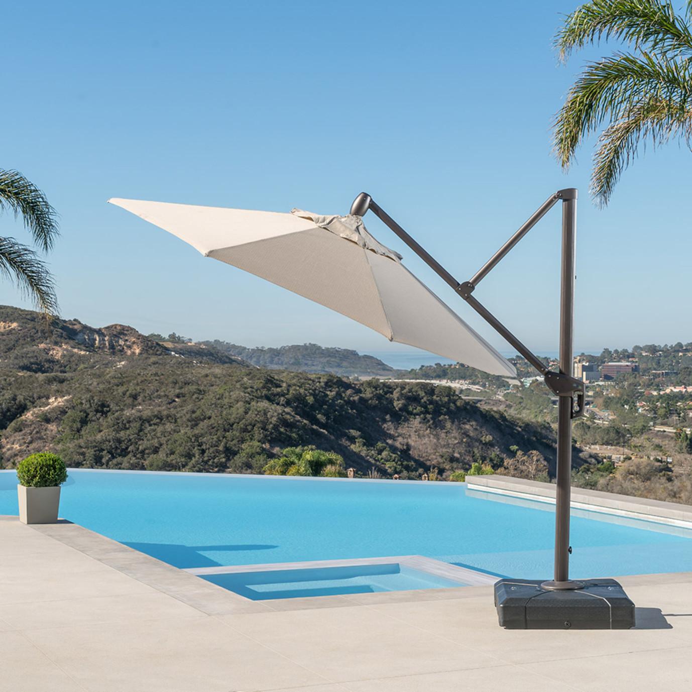 10 Round Offset Umbrella In Slate Grey Rst Brands