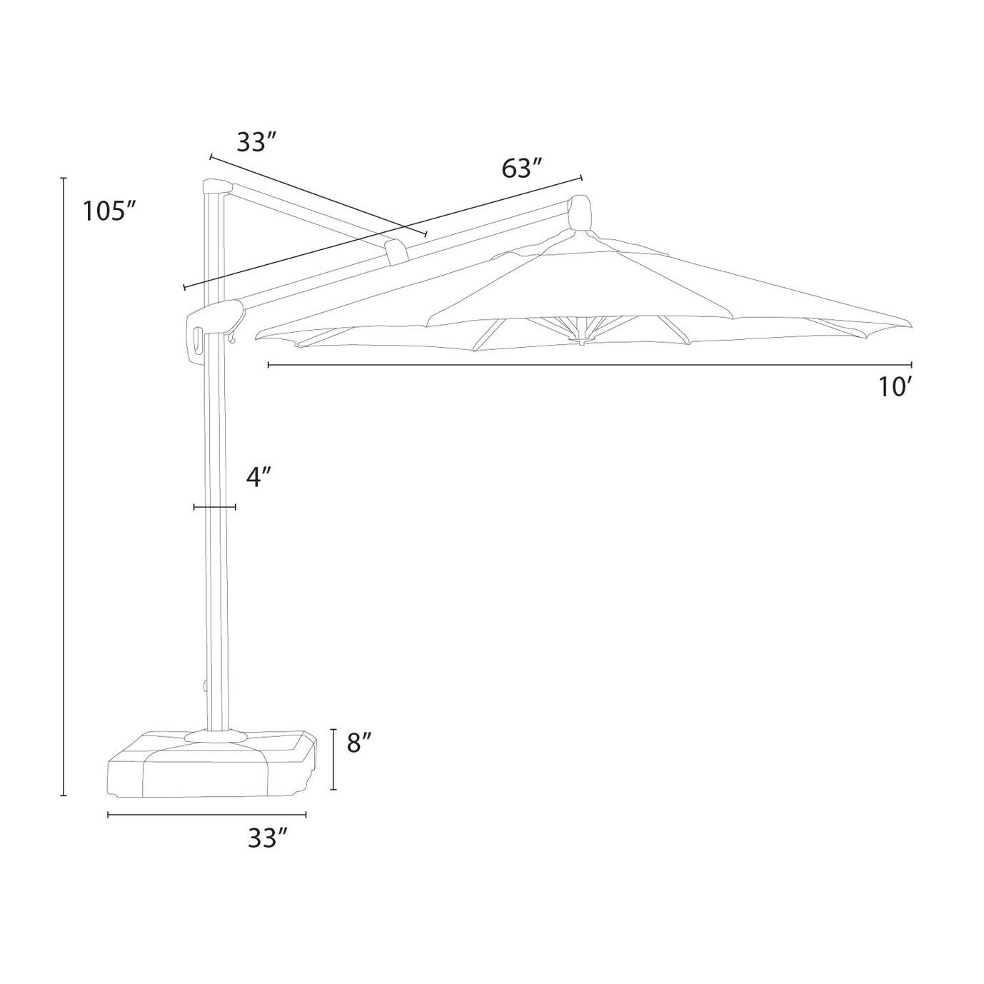 Modular Outdoor 10' Round Umbrella - Slate Grey