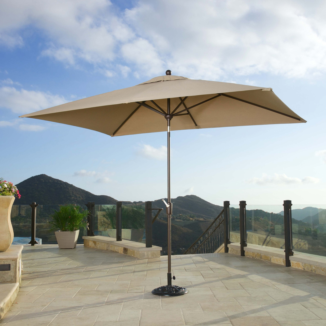Portofino® Comfort Auto-Tilt Dining Umbrella - Heather Beige