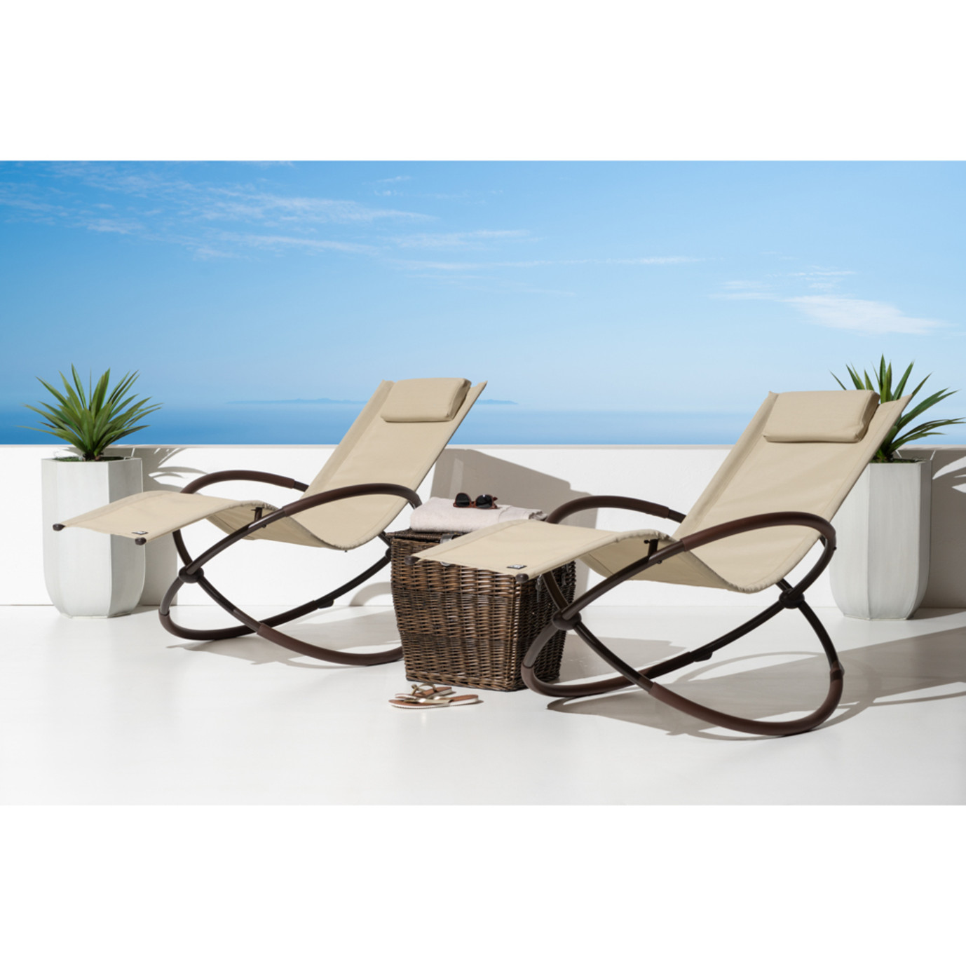 Original Orbital Outdoor Loungers 2pk - Beige