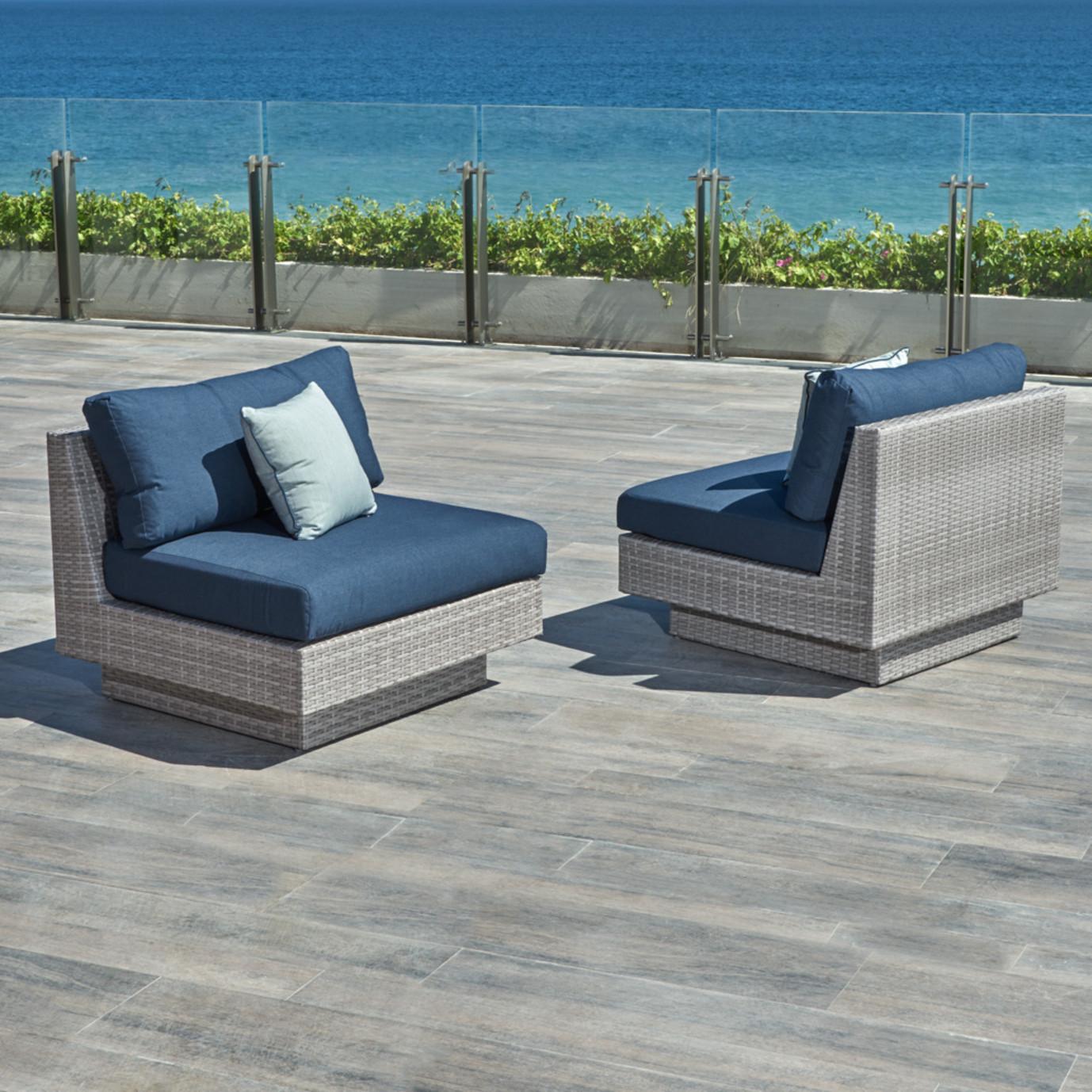 Portofino™ Comfort Armless Chairs - Laguna Blue