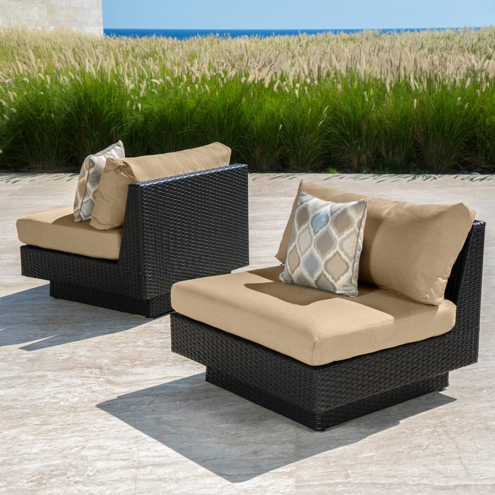 Portofino™ Comfort Armless Chairs - Heather Beige - Outdoor Furniture by RST Brands