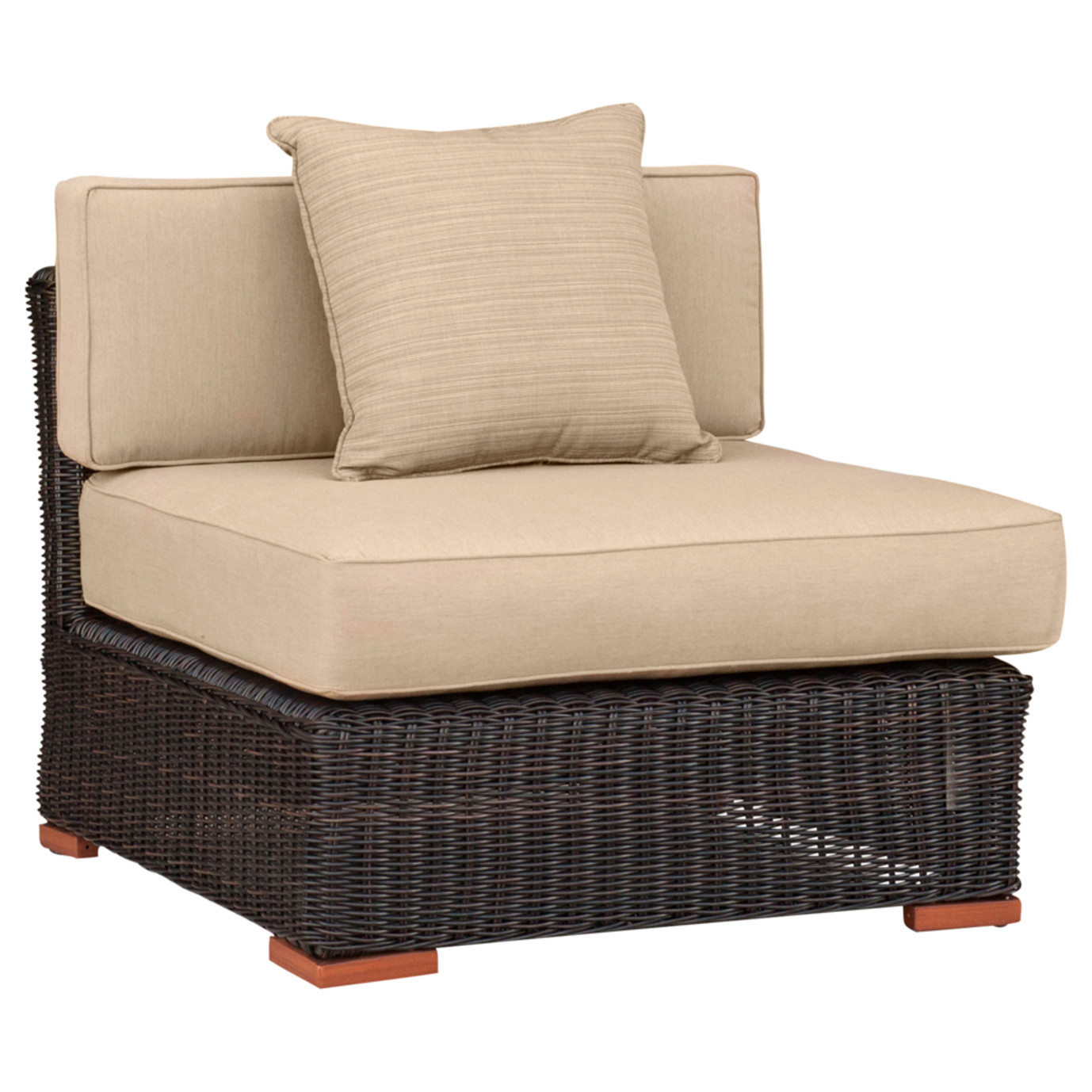 Resort Armless Chair and Large Ottoman Set - Heather Beige