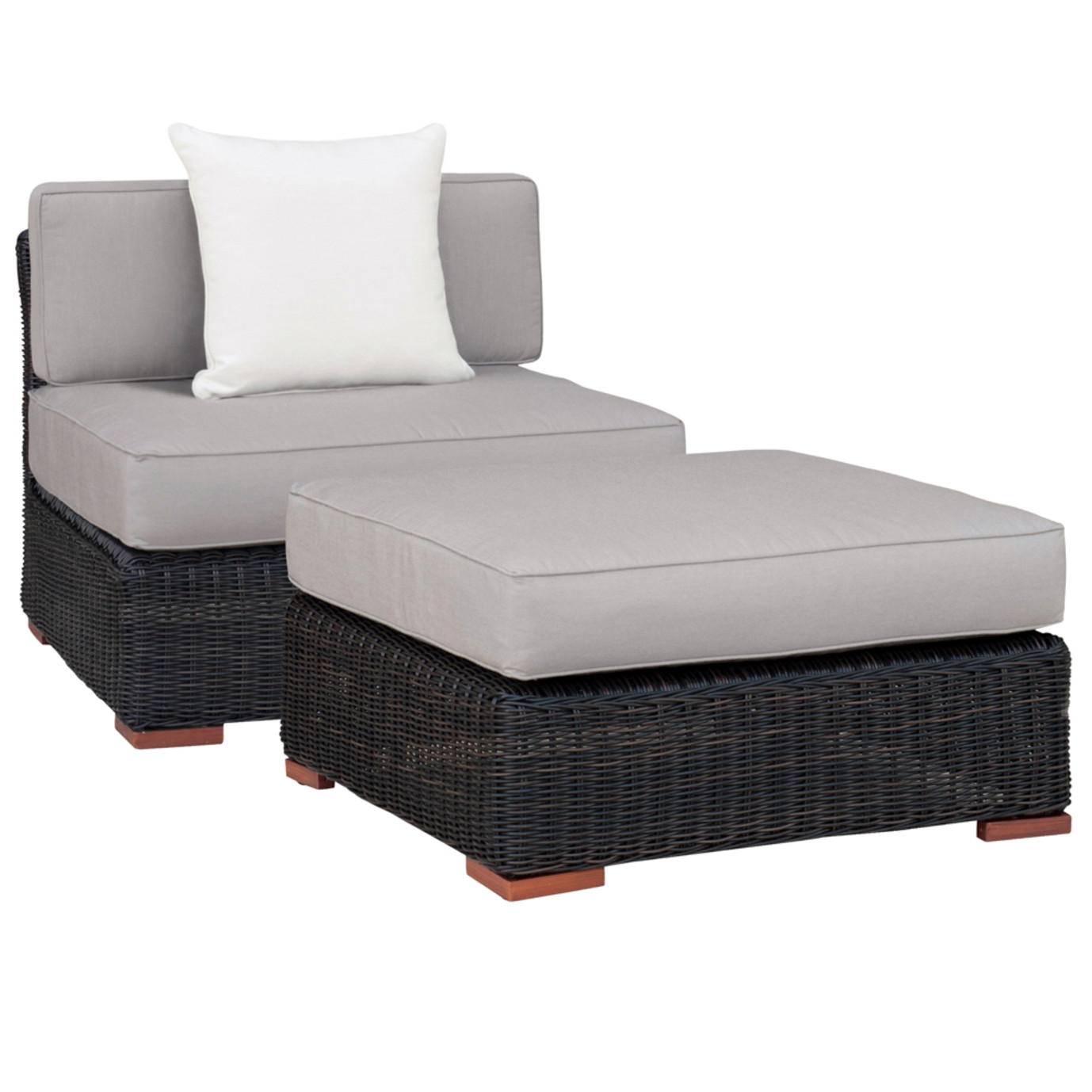 Resort Armless Chair and Large Ottoman Set - Frank Stone