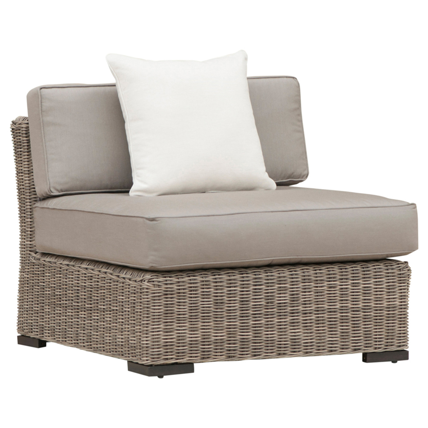 Resort Armless Chair and Large Ottoman Set - Weathered Gray