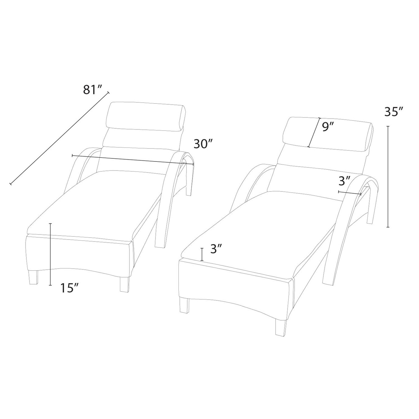 Barcelo™ Chaise Lounge 2pk - Sunset Red