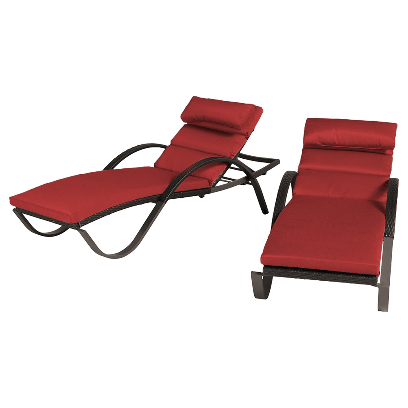 Deco chaise lounges with cushions cantina red rst brands for Chaise longue deco