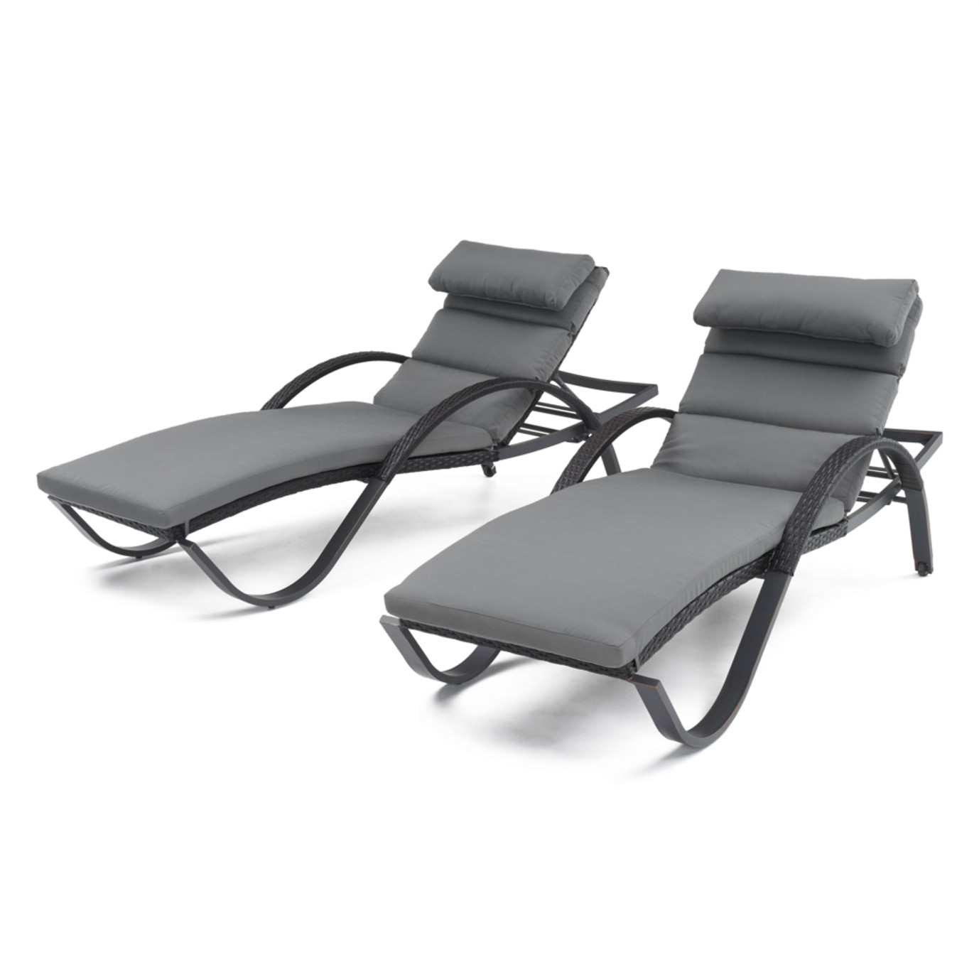 Deco™ Chaise Lounges with Cushions - Charcoal Grey
