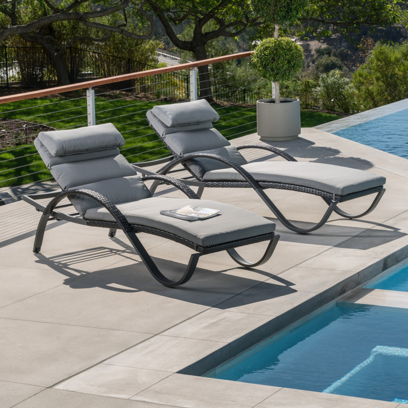 Deco™ Chaise Lounges with Cushions - Charcoal Gray