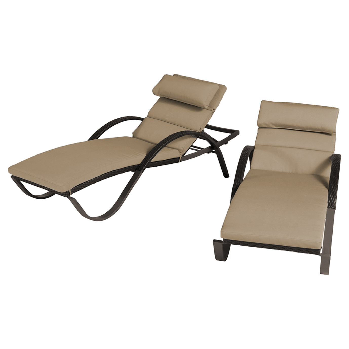 Deco Chaise Lounges with Cushions - Delano Beige