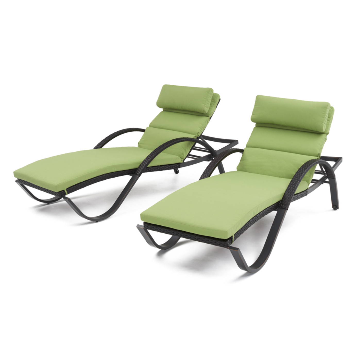 Deco™ Chaise Lounges with Cushions - Ginkgo Green