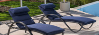 Deco™ Chaise Lounges with Cushions - Navy Blue