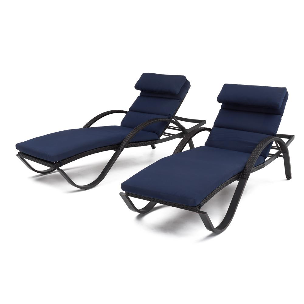 Deco Chaise Lounges with Cushions - Navy Blue