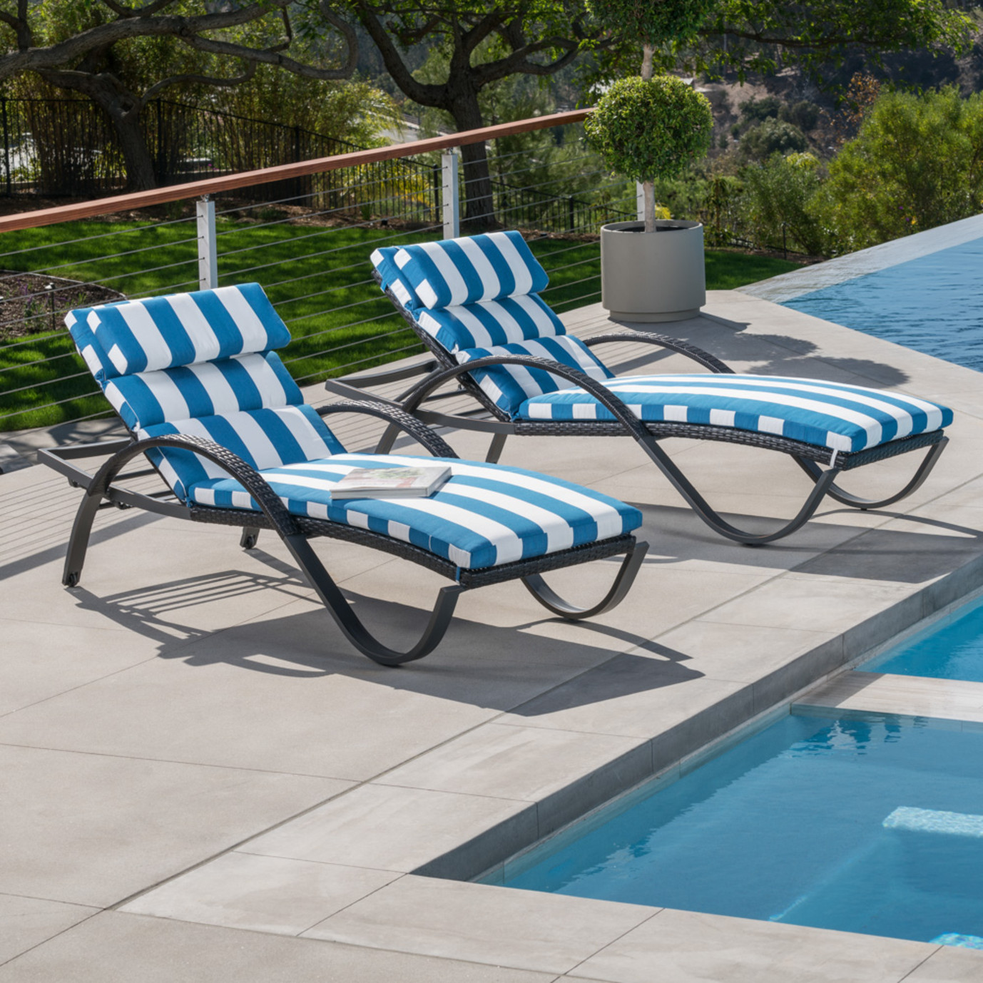 Deco™ Chaise Lounges with Cushions - Regatta Blue