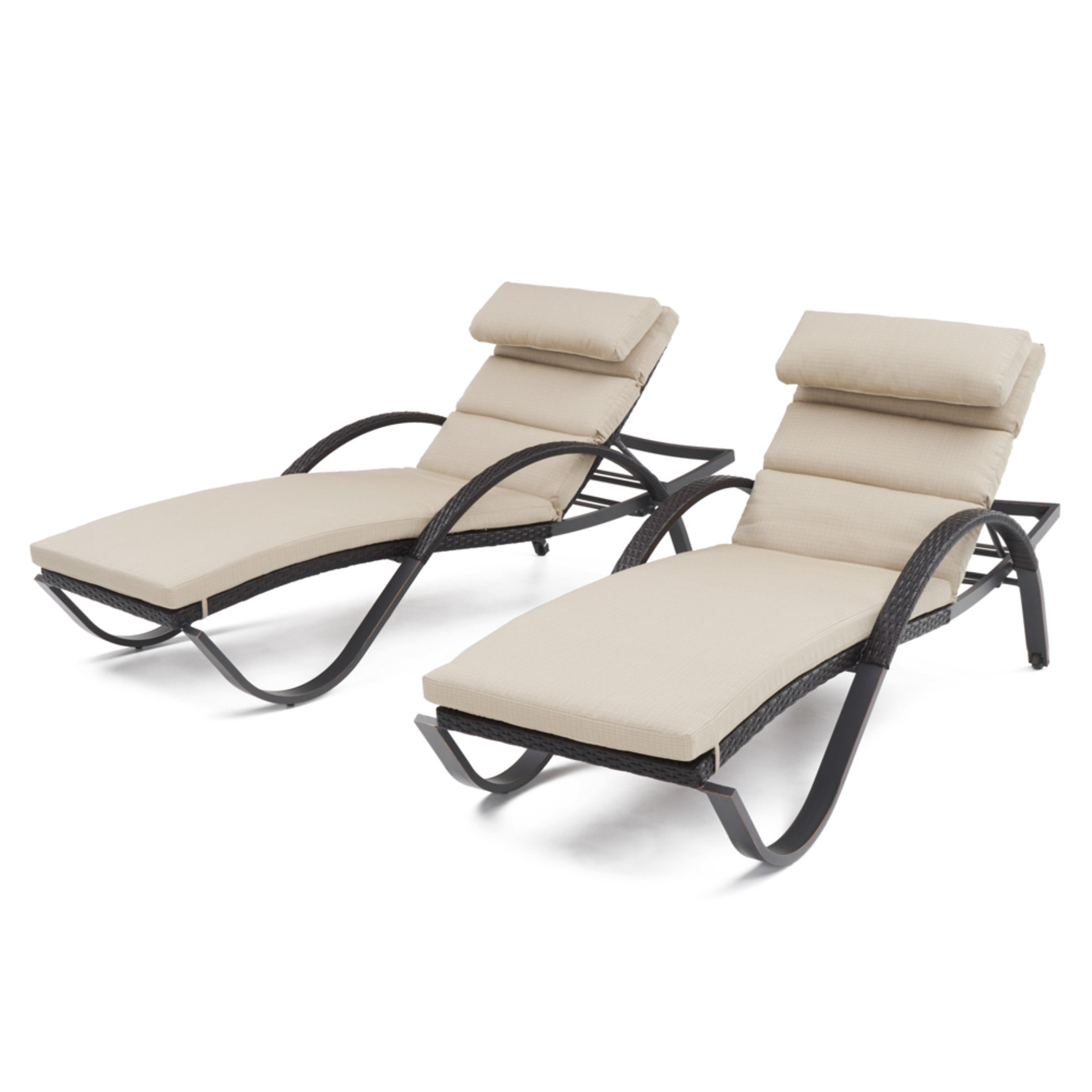 Deco™ Chaise Lounges with Cushions - Slate Grey