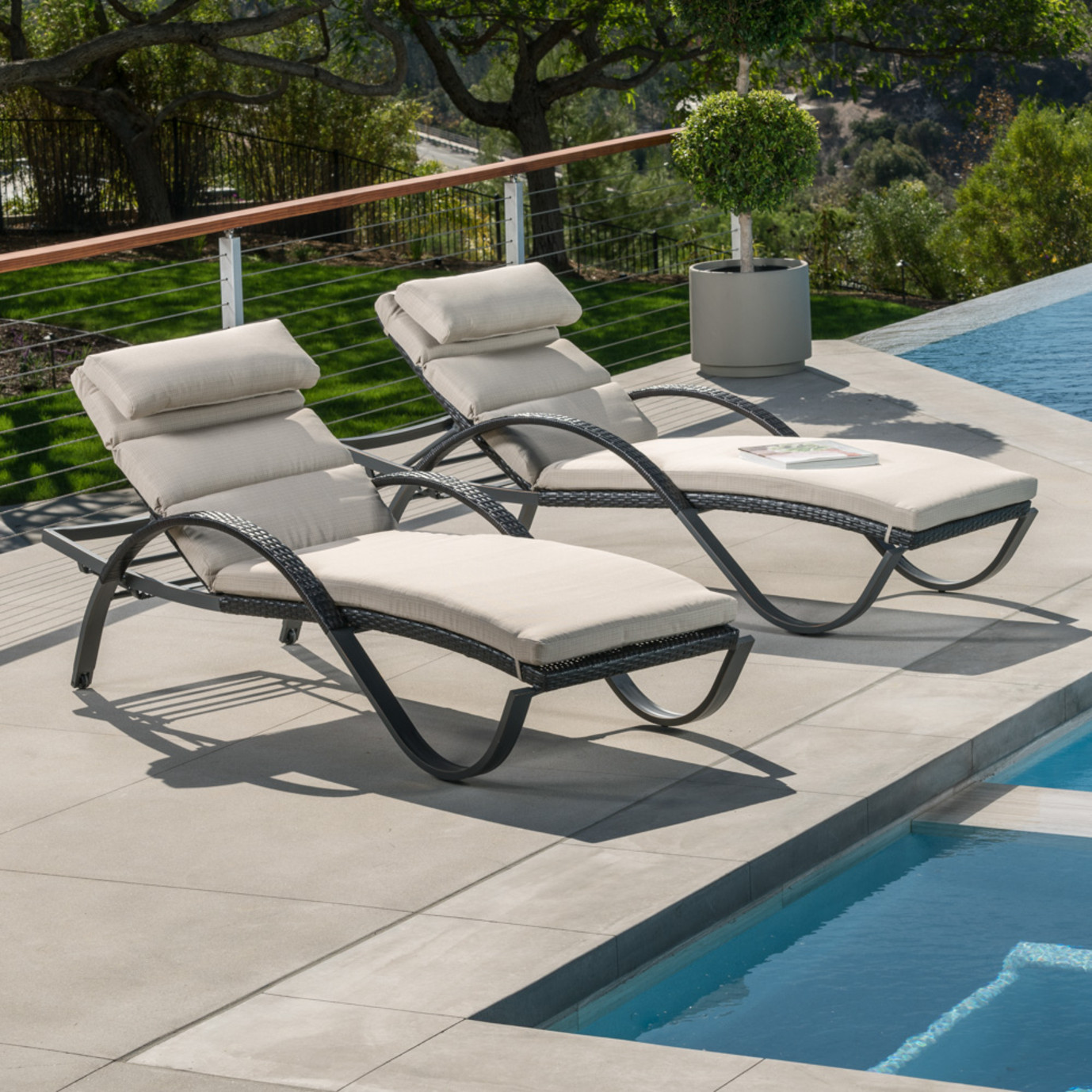 Deco Chaise Lounges With Cushions Slate Grey Rst Brands