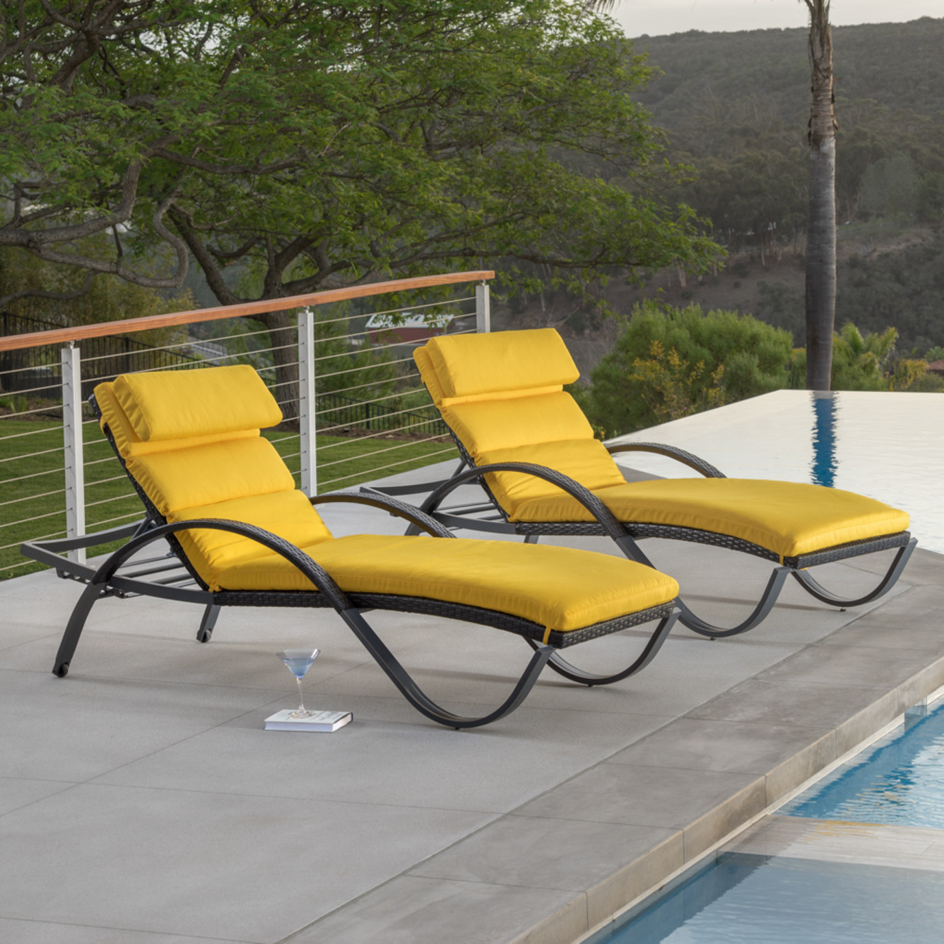 Deco™ Chaise Lounges with Cushions - Sunflower Yellow