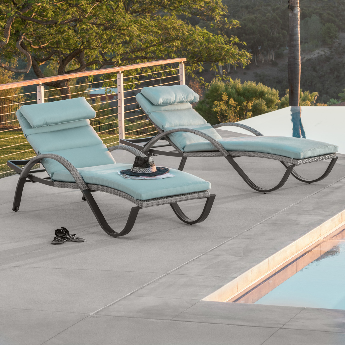 Cannes™ Chaise Lounges with Cushions - Bliss Blue
