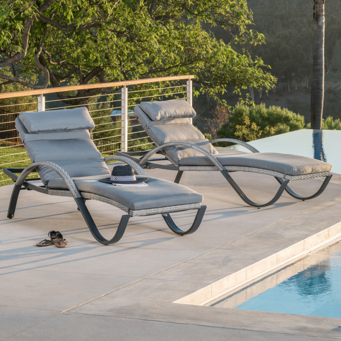 Cannes™ Chaise Lounges with Cushions - Charcoal Grey