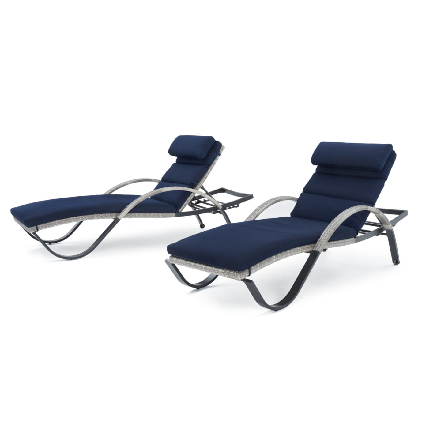 Cannes Chaise Lounges With Cushion And Pillow Navy Blue