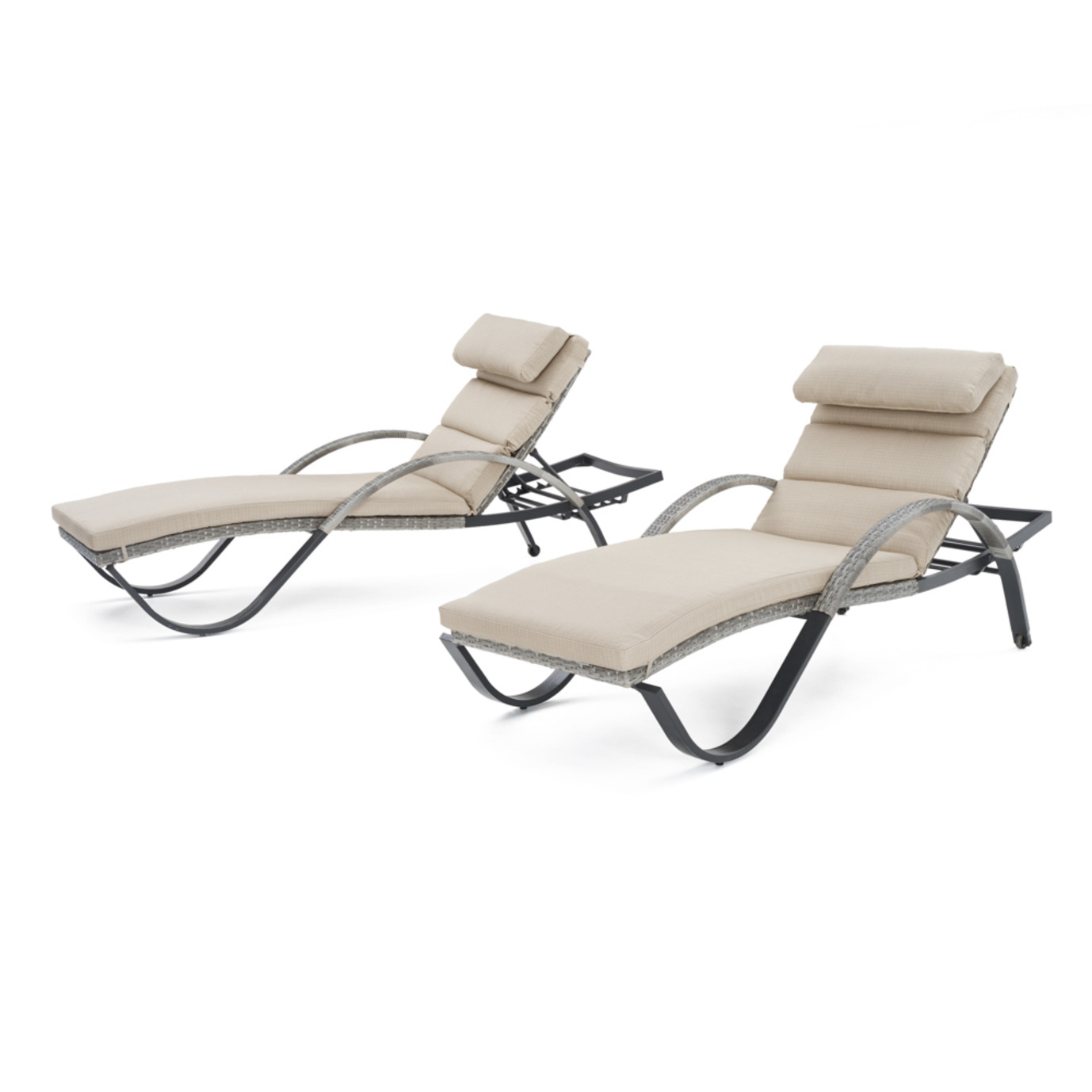 Cannes™ Chaise Lounges with Cushions - Slate Grey