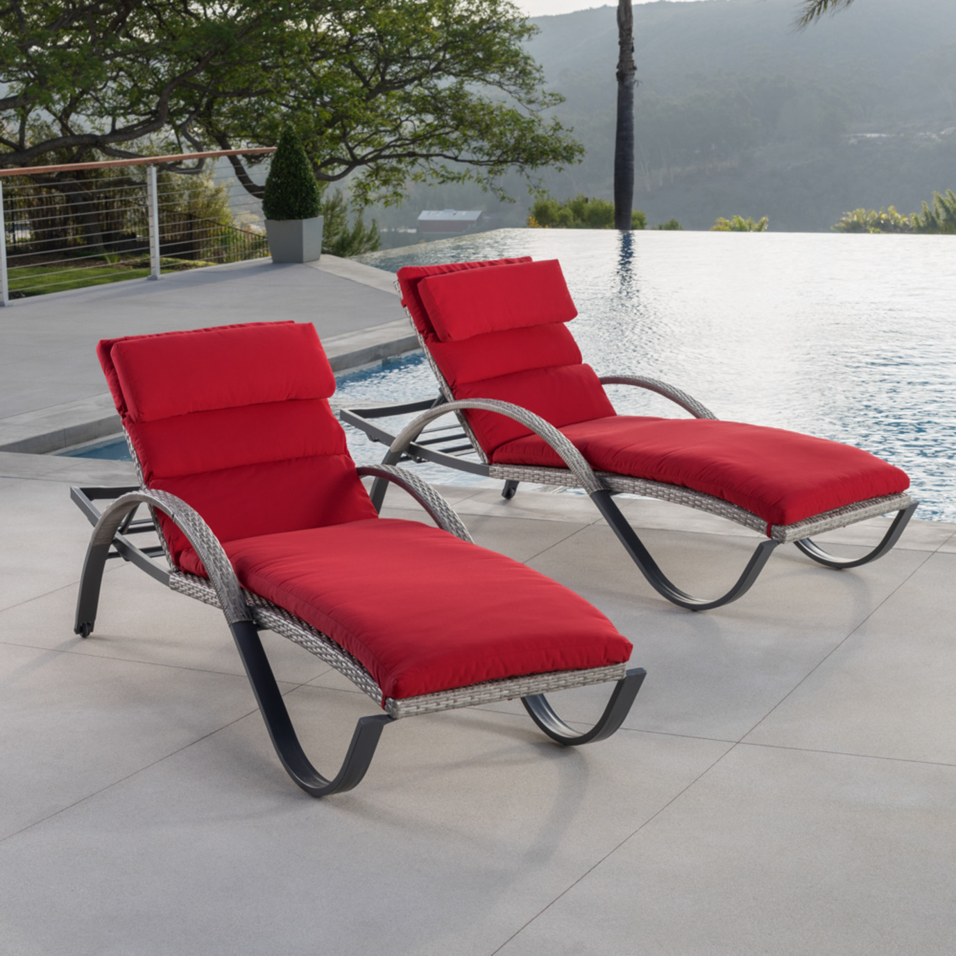 Cannes™ Chaise Lounge 2pk - Sunset Red