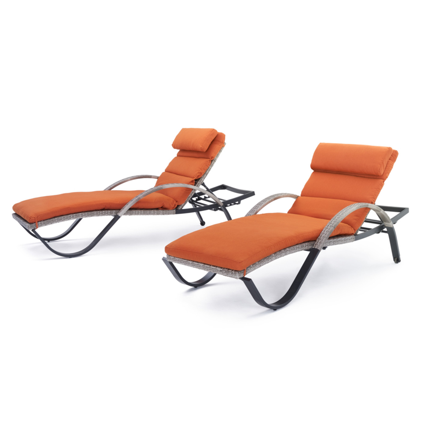 Cannes chaise lounges with cushion and pillow tikka for Chaise longue orange