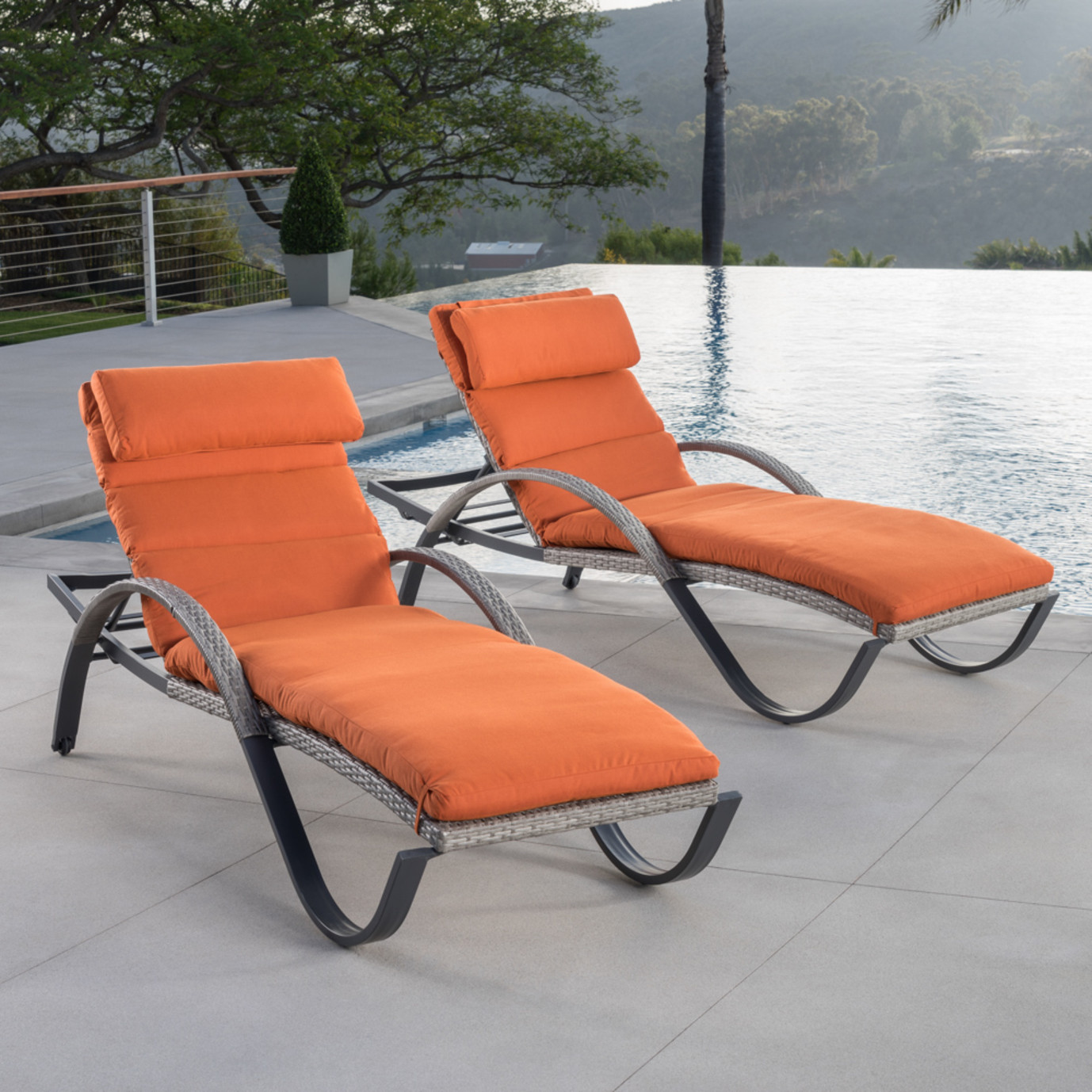 Cannes™ Chaise Lounges with Cushions - Tikka Orange