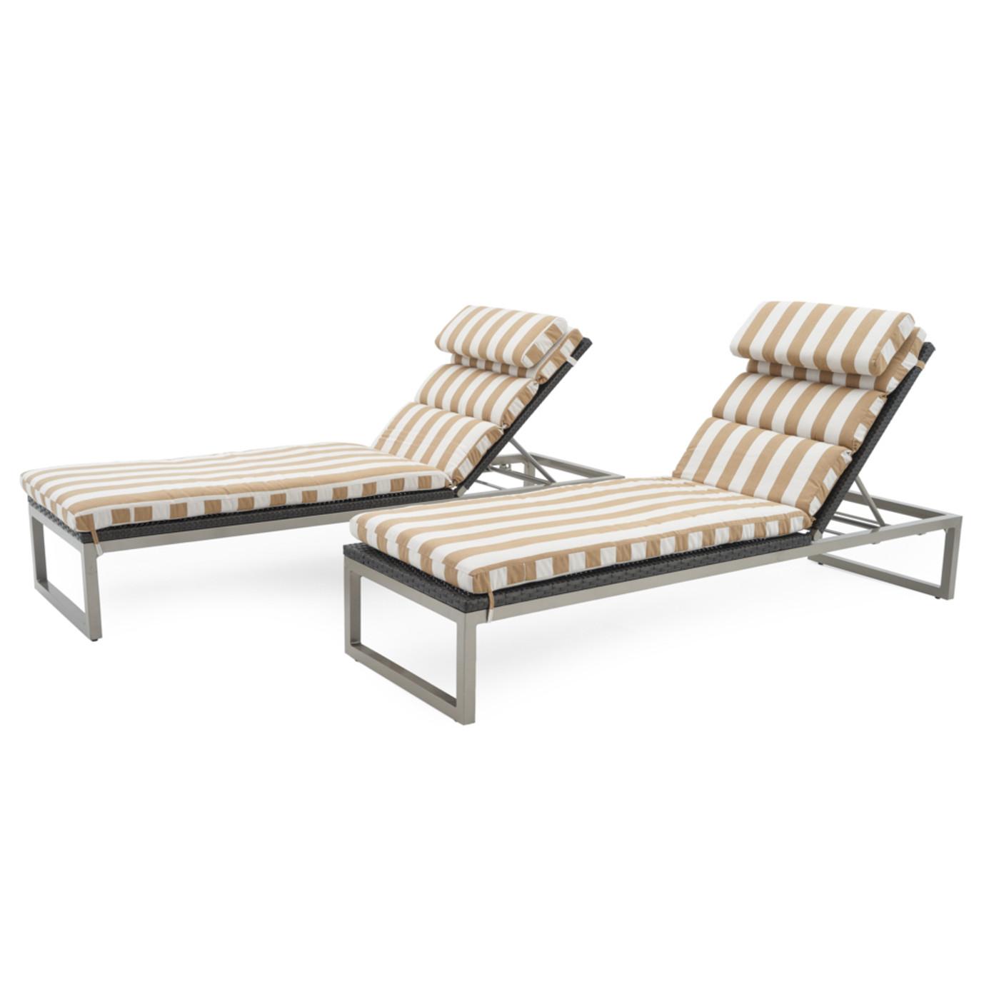 Milo™ Espresso Chaise Lounges - Maxim Beige