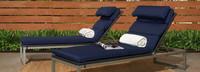 Milo™ Espresso Chaise Lounges - Navy Blue
