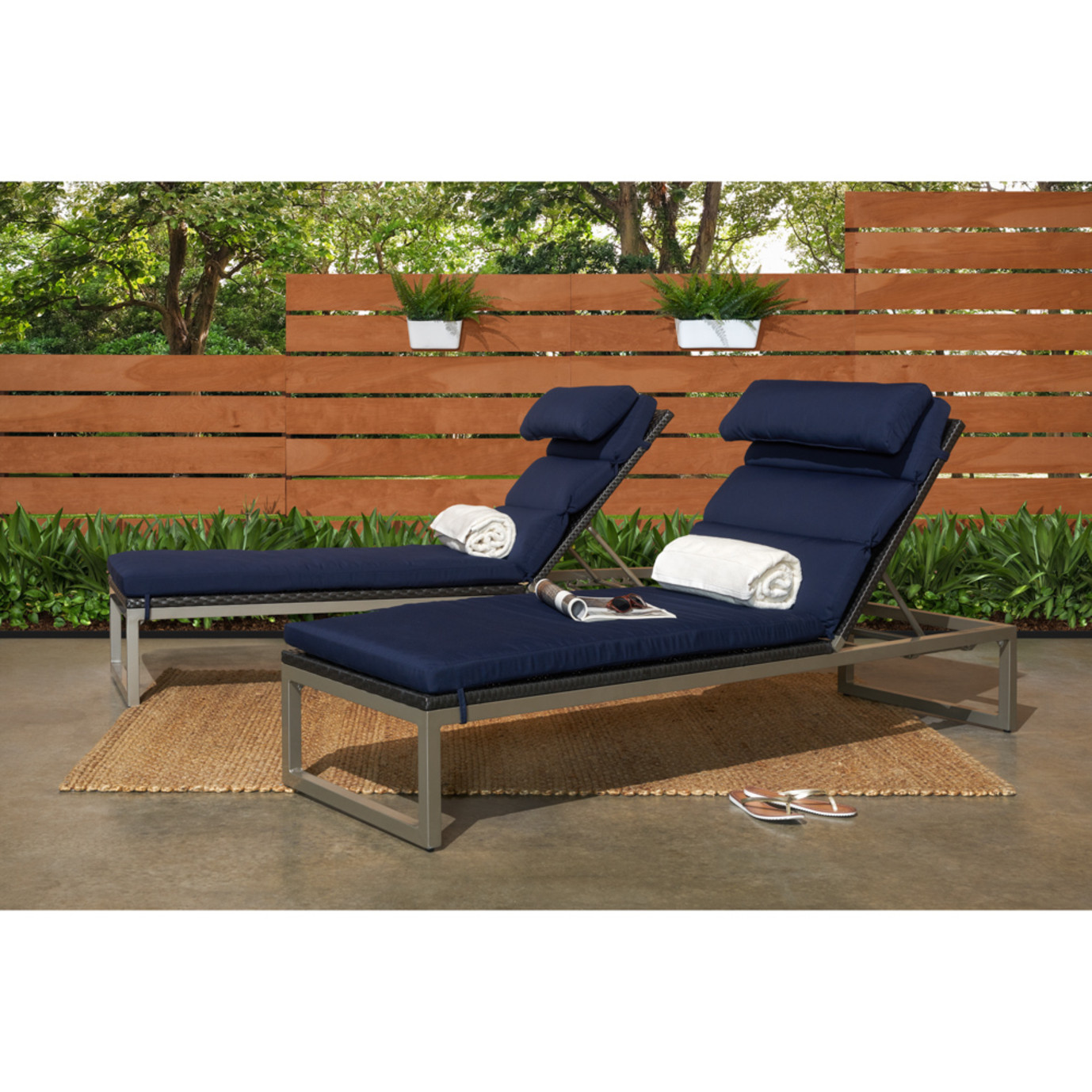 Milo™ Espresso Chaise Lounges - Navy Blue