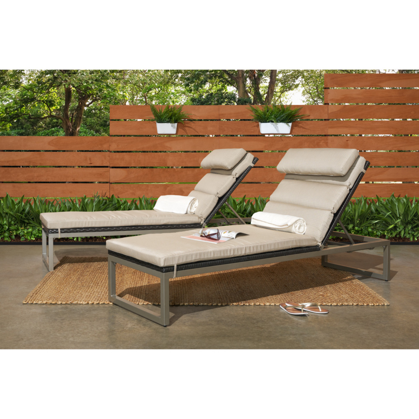 Milo™ Espresso Chaise Lounges - Slate Gray