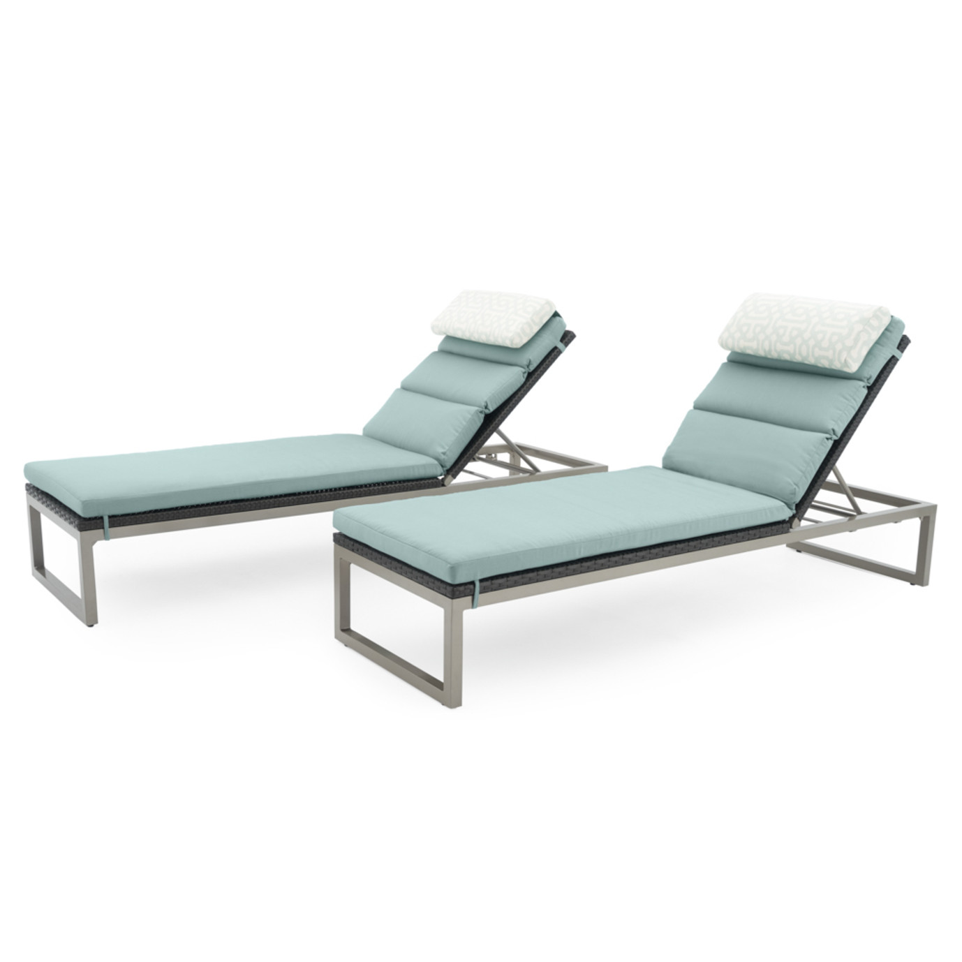 Milo™ Espresso Chaise Lounges - Spa Blue
