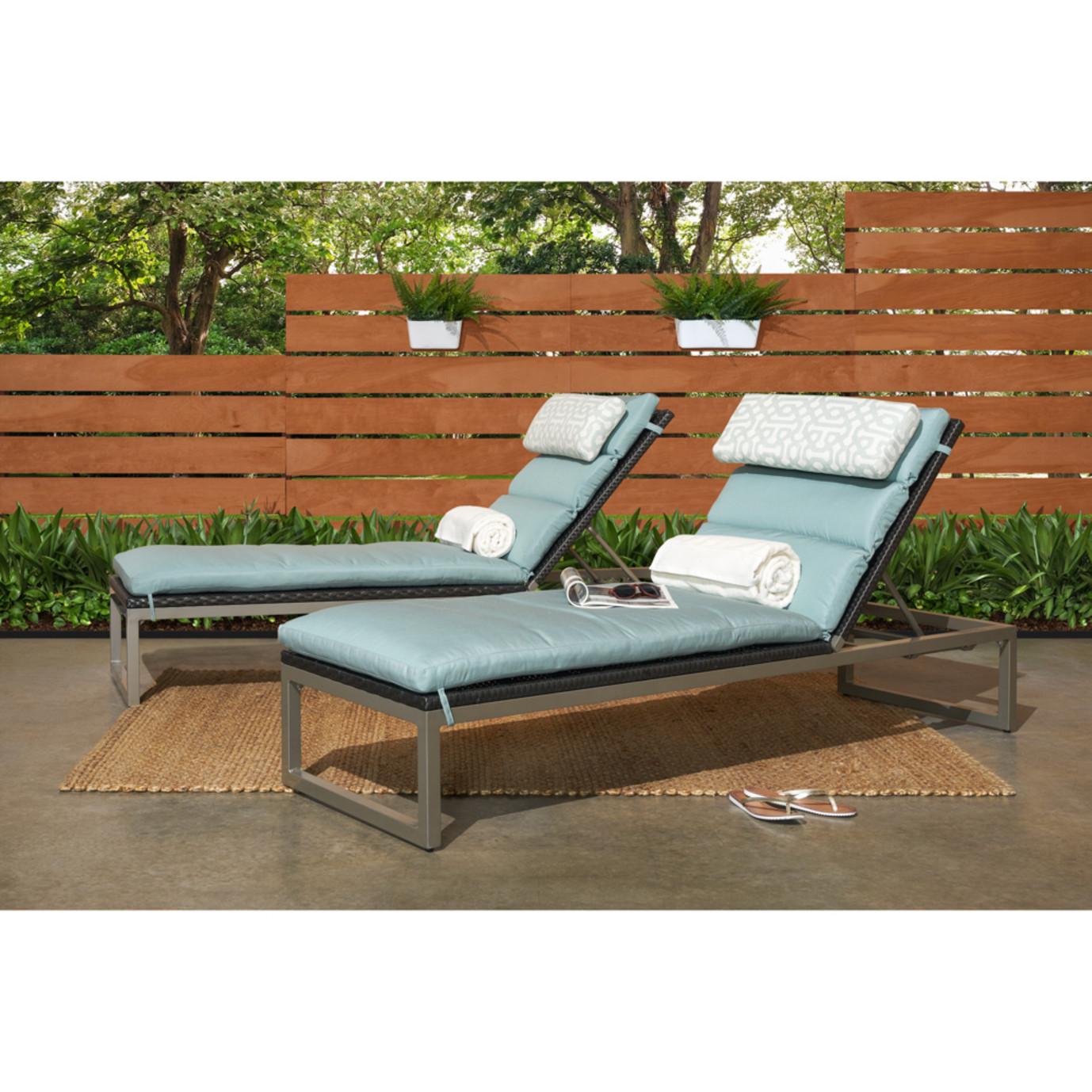Milo™ Espresso Chaise Lounges - Spa Blue