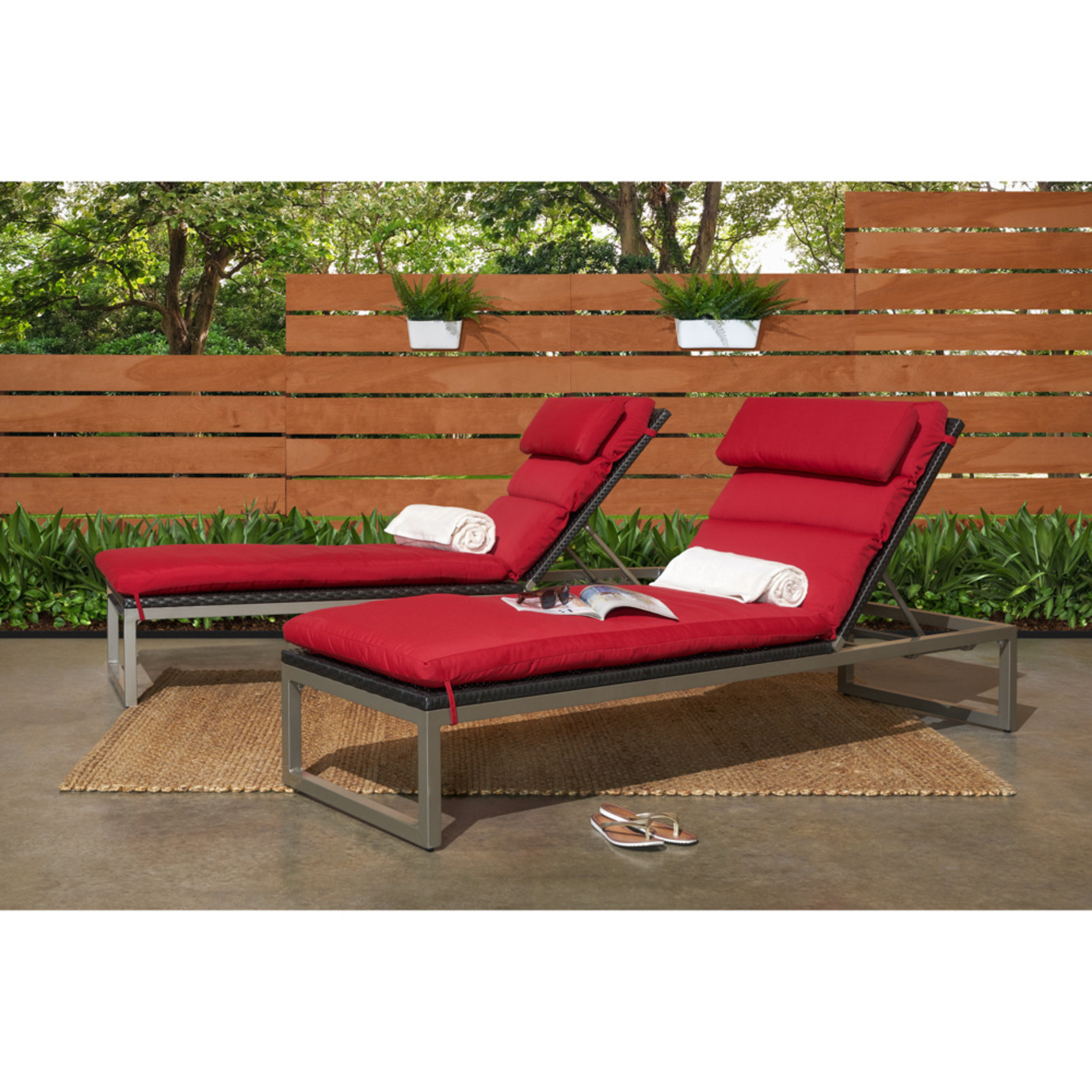 Milo™ Espresso Chaise Lounges - Sunset Red