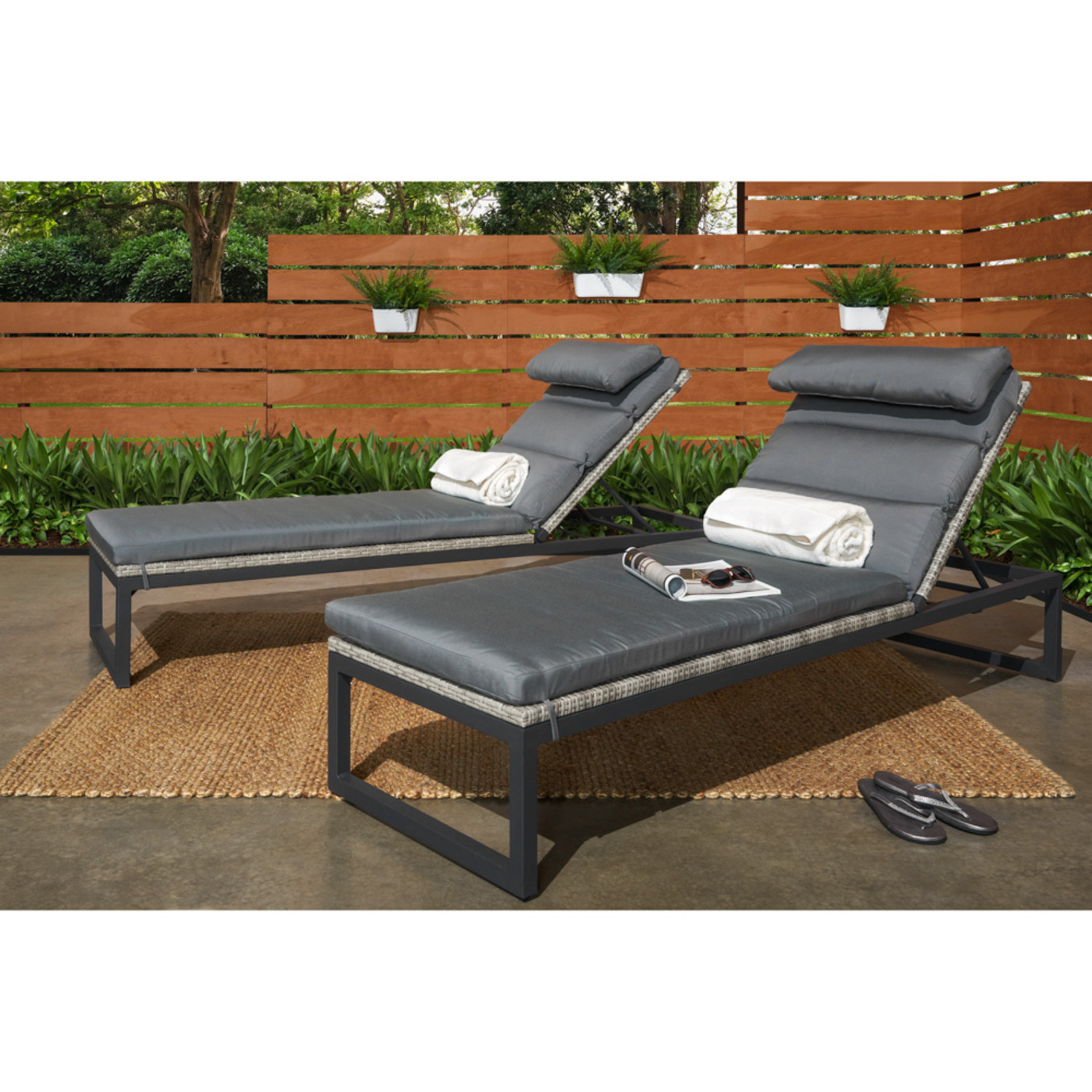 Milo™ Gray Chaise Lounges - Charcoal Gray