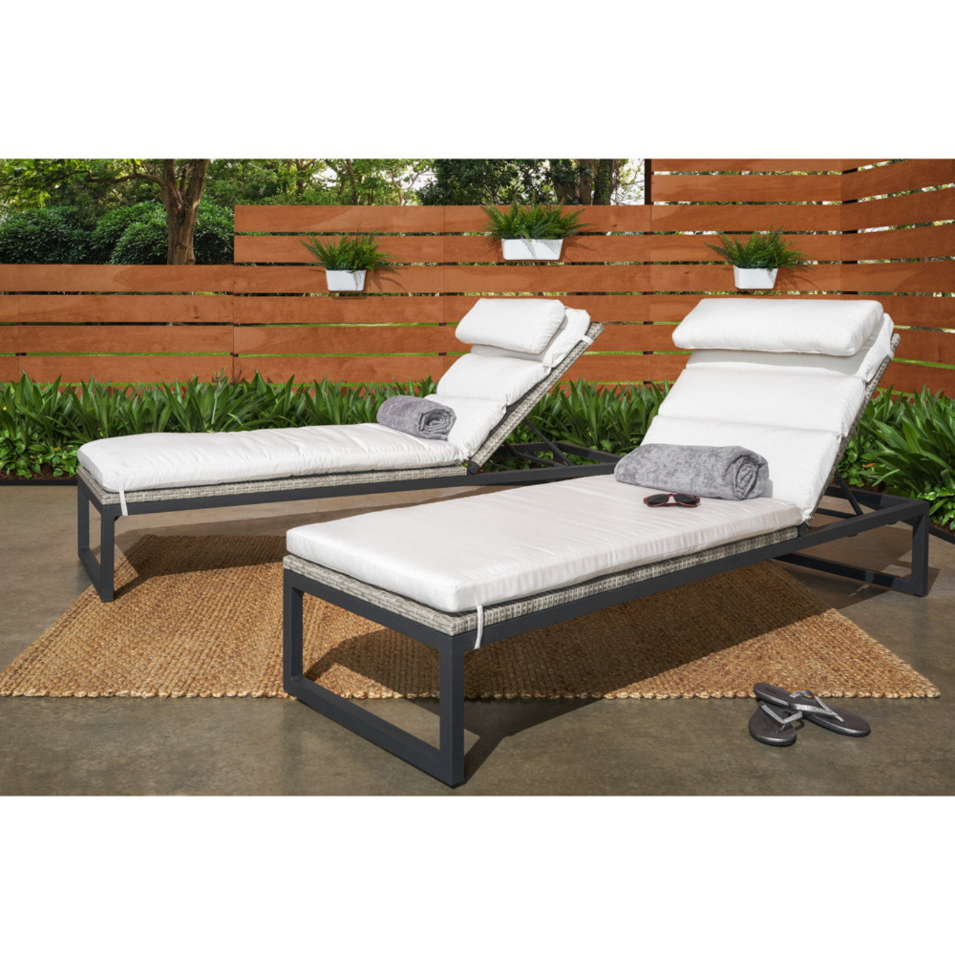 Milo™ Grey Chaise Lounges - Moroccan Cream