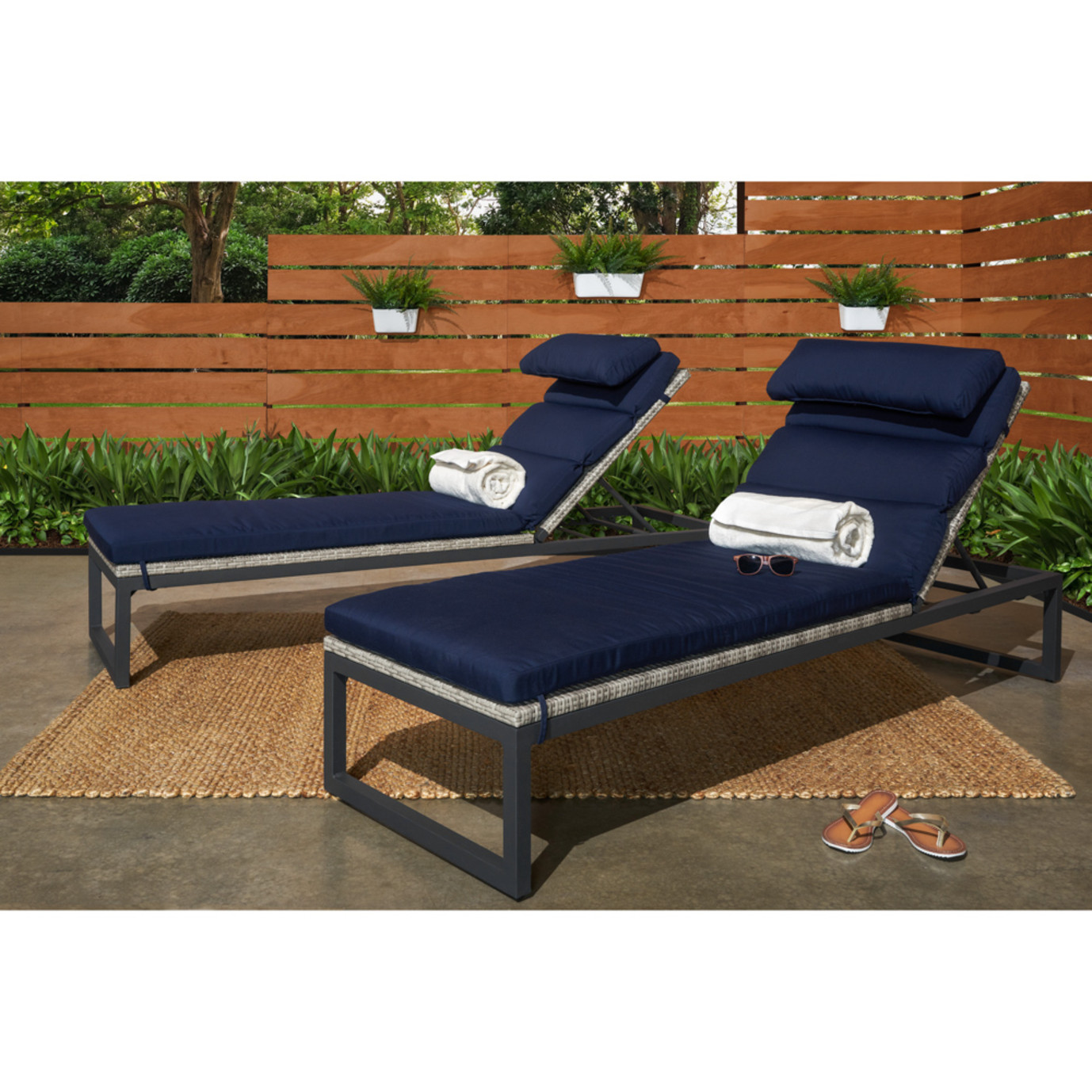 Milo™ Gray Chaise Lounges - Navy Blue