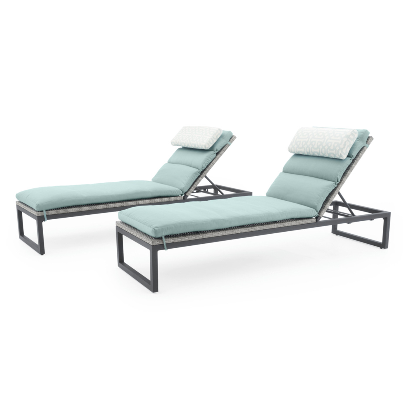 Milo™ Gray Chaise Lounges - Spa Blue