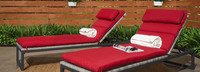 Milo™ Gray Chaise Lounges - Sunset Red