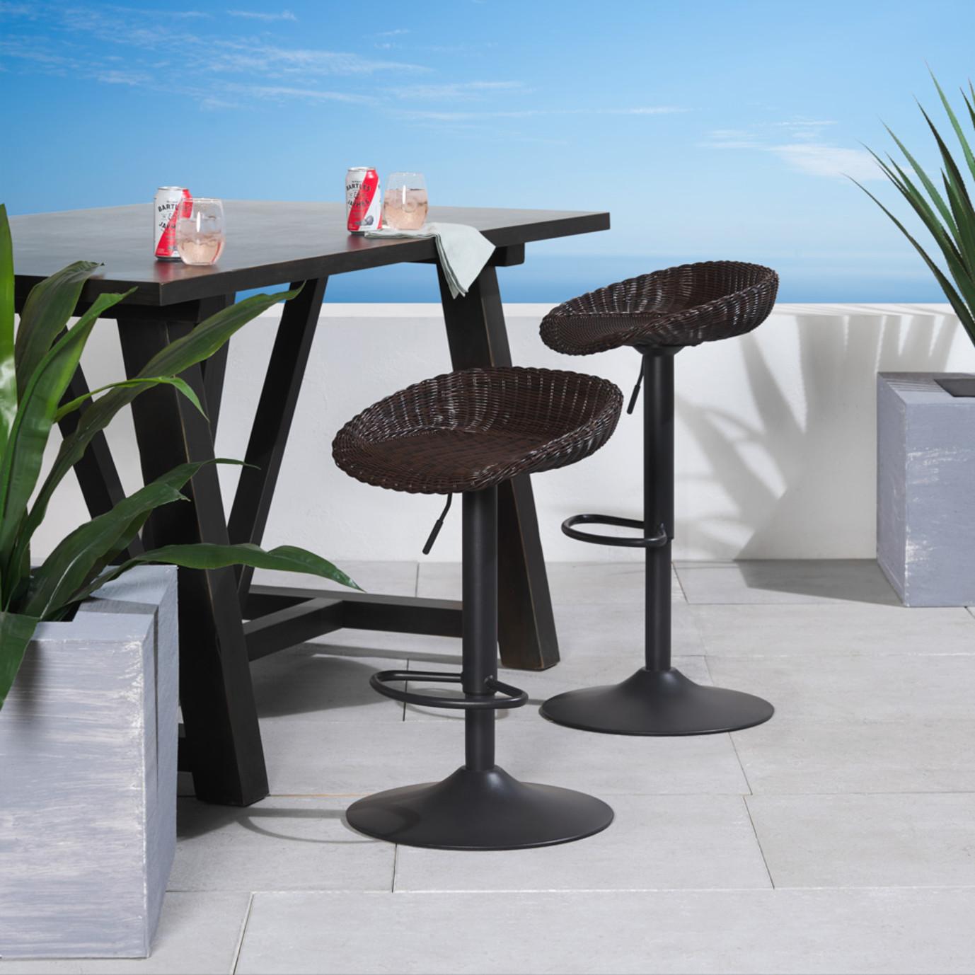 Portofino® Repose Set of 2 Airlift Barstools - Espresso