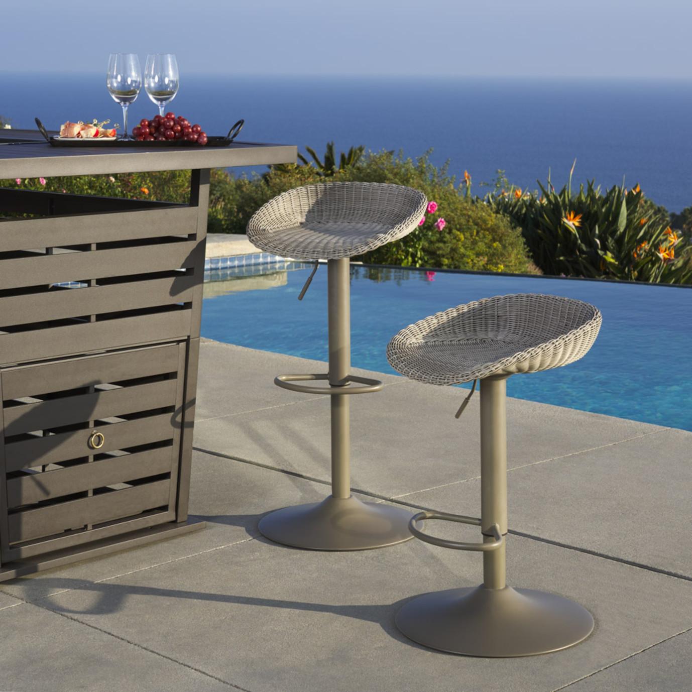 Portofino® Repose Set of 2 Airlift Barstools - Gray